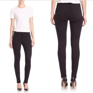 J Brand Mid Rise Super Skinny Black Jeans